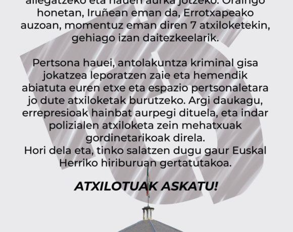 JARDUNen parten den Deustuko Amnistiaren Aldeko Antolakundeak Iruñeko atxiloketak salatzen ditu